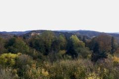 Aussicht vom Hirschkopfturm in den Odenwald im Herbst